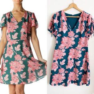 J.Crew Floral Tie Sleeve short sleeve dress